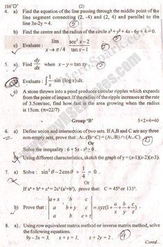 Mathematics – Old Question Paper 2073 (2016) Grade XI | HSEB