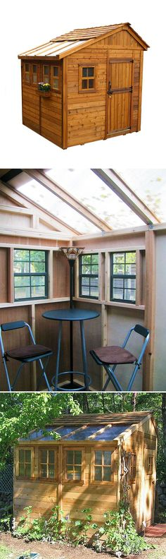 Here's a small garden shed that's ready to be tricked out. It's made of sturdy Red Cedar, and it has a skylight for lots of natural light inside. Turn it into a small backyard retreat. There's plenty of space, too, for potting plants... or even storing yard tools!