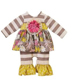 Stylish Fall outfit for your baby girl! ~ Peaches n Cream LA LUNA Taupe Stripe Flower Romper (girls sz. 0-9m) ~ Color Me Happy Boutique