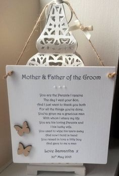 Mother and Father of the Groom Personalised Wedding by AandFCrafts