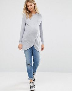 ASOS Maternity | ASOS Maternity NURSING Wrap Over Sweater in Textured Stripe