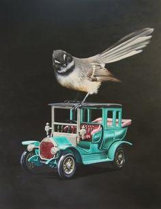 Piwakawaka with a Lesney's Models of Yesteryear - 1910 Benz Limousin - Jane Crisp 2012 Nz Art, Maori Art, Kiwiana, Limousin, Limited Edition Prints, Bird Art, Beautiful Birds, Painting & Drawing, New Zealand