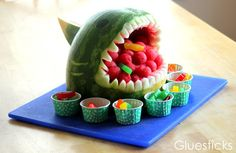 Watermelon and gummy fish shark.. how cute is this?