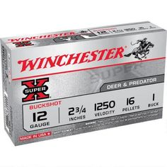 """Winchester 12 Gauge Super-X Buck 2-3/4"""" #1 Buck 5 Rounds - XB121 - 020892007093"""
