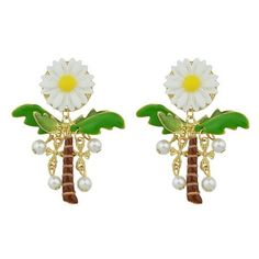 Faux Pearl Coconut Palm Sunflower Crucifix Earrings (€4,11) ❤ liked on Polyvore featuring jewelry, earrings, gamiss, sunflower earrings, palm tree jewelry, cross jewelry, imitation pearl earrings and earring jewelry