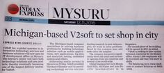 Michigan-based V2Soft to set shop in the city: Latest news on 'The New Indian Express' regarding #V2Soft Pvt. Ltd. Mysore facility