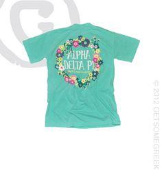 Alpha Delta Pi custom sorority chapter order on floral ADPi crown v-necks!! Sorority shirts! Alpha Delta Pi & GetSomeGreek!