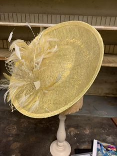 A Little Bit Of Sunshine Sinamay Saucer. Yellow And Gold Lurex | Etsy Can Makeup, Cocktail Hat, Church Hats, Wooden Hand, Fascinator Hats, White Feathers, Kentucky Derby, Sunshine, Just For You
