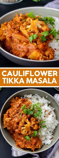 Cauliflower tikka masala is the ideal simple veggie lover supper presented with steamed rice. Vegetarian Dinners, Vegetarian Recipes Easy, Veggie Recipes, Indian Food Recipes, Healthy Recipes, Healthy Eats, Healthy Foods, Dinner Recipes, Tikka Masala Sauce