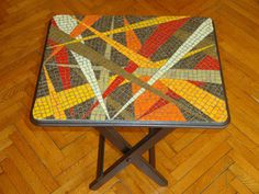 Vitreous glass on mdf coffee table. Mosaic Outdoor Table, Mosaic Tile Table, Mosaic Coffee Table, Outdoor Table Tops, Mosaic Art, Mosaic Glass, Fused Glass, Mosaics, Mosaic Crafts