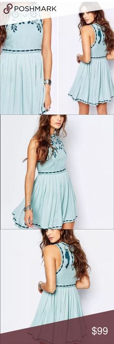 "NWT Free People Birds of a Feather Dress size 8 Free People Birds of a Feather Embroidered Swing Dress in a size 8. Beautiful ""Sea Fog"" mint blue color. Gorgeous  embroidery throughout! Brand new with tags attached. Free People Dresses Mini"