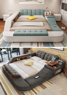 One of the coolest beds we've ever seen, this multifunctional bed is an adult playground packed with features.