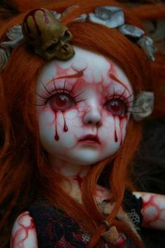 Bloody..good idea to do on China dolls found at thrift stores