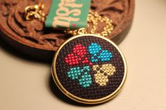 Heart and Flower Cross Stitch Necklace Nordic by ScotStitch, $25.00