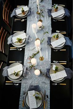 Sophisticated dinner party setting from Athena Calderone.