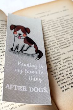 "Bookmark ""Reading is my favorite thing after dogs""  with a cute beagle dog smiling, dogs bookmark for book lovers in brown,pink and beige - pinned by pin4etsy.com"