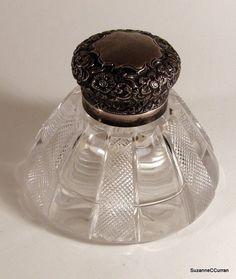 Antique English Sterling Silver & Glass Large Inkwell Birmingham