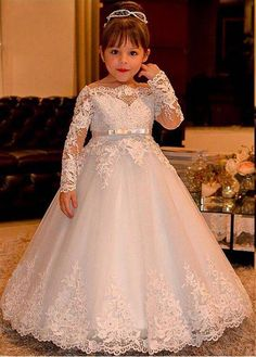 Cheap communion dresses, Buy Quality flower girl dresses directly from China holy communion dresses Suppliers: Elegant Princess Flower Girls Dresses for Weddings Lace Long Sleeve Boat Neck Vintage Girl Pageant Gowns Holy Communion Dress Kids Pageant Dresses, Wedding Dresses For Kids, Pageant Gowns, Girls Dresses, Evening Dresses, Wedding Gowns, Toddler Pageant, Homecoming Dresses, Princess Flower Girl Dresses
