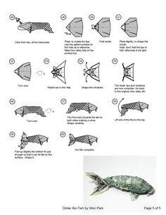 KOI FISH Diagram (5 of 5) Money Origami Dollar Bill Art