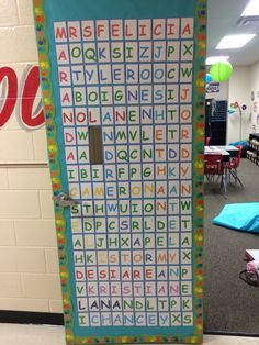 Word search door for the first day of school. Had to put a peep hole in it to see in but all in all turned out good!
