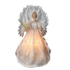 18 in. Ivory Fiberoptic Angel Tree Topper-UL2194 at The Home Depot