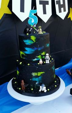 Two Tier Star Wars Themed Birthday Cake For Twins Ryan