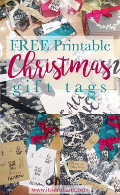 Christmas Gift Tags: **FREE** Printable!  Why buy gift tags when you can print them out for free. Create Traditional looking tags or Monochrome by printing on White or Brown Card
