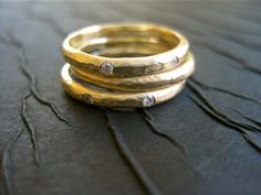 Stackable Wedding Bands Are One Of Our Favorite Jewelry Trends (PHOTOS)~~Get your custom designed wedding gown at www.theonecouture.com