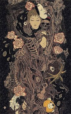 Takato Yamamoto  Barely known outside his homeland, Yamamoto might best be described as Aubrey Beardsley meets anime. He began his career as a commercial illustrator until a fascination with Ukiyo-e led him to create more personal work. He now works full time conjuring his dark and often erotic worlds into existence.