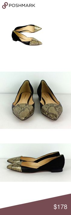 """Alexandre Birman- Black Suede & Gold Snakeskin Flats Sz 9 These elegant, modern black suede flats have gold toned snakeskin toes. Add these classy flats to any outfit for a polished look. Size 9 Made in Brazil Retails for $450.00 Black suede back Black leather on sides Gold snakeskin toes Pointed toe Very light outsole wear Heel height .5"""" Outsole length 11.5"""" Sexy, bold, and elegant, Alexandre Birman shoes have become favorites with Hollywood A-listers and A-list fashionistas alike…"""