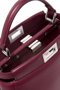 Fendi - Peekaboo Mini Leather Shoulder Bag - Burgundy Fendi Peekaboo Mini,  Leather Shoulder Bag 1e62e1119c