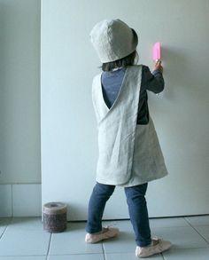 MOTHER CHILD SET linen pinafore dress cross back / by PAMELATANG
