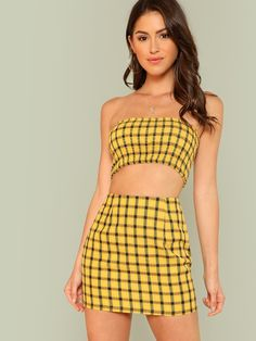 Shop Plaid Print Shirred Strapless Crop Top And Skirt Set online. SheIn offers Plaid Print Shirred Strapless Crop Top And Skirt Set & more to fit your fashionable needs. Cropped Tops, Plaid Skirts, Mini Skirts, Two Piece Outfit, Two Piece Skirt Set, Top Y Pollera, Strapless Crop Top, Actrices Sexy, Nagel Blog