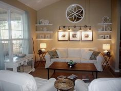 My living room wall? Beige And White Living Room, Beige Living Rooms, Living Room Redo, Coastal Living Rooms, Home And Living, Living Room Designs, Cozy Living, Wand Hinter Couch, Tan Walls