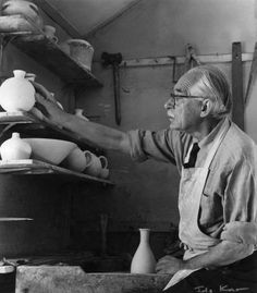 Great Potter, Bernard Leach  ~It was in Japan that Leach began potting under the direction of Shigekichi Urano (Kenzan VI) and befriended a young potter named Shoji Hamada. With Hamada, he set up the Leach Pottery at St. Ives, Cornwall in 1920, including the construction of a traditional Japanese wood burning kiln. The two of them promoted pottery as a combination of Western and Eastern arts and philosophies. In their work they focused on traditional Korean, Japanese and Chinese pottery.....
