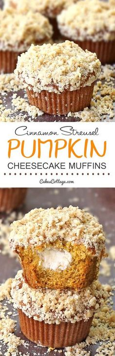 Delicious pumpkin muffins filled with cream cheese and topped with a cinnamon…