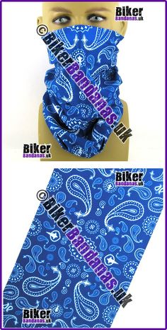 Royal Blue Paisley Pearls Multifunctional Headwear / Neck Tube Bandana for Men and Women Bikers, Cyclists, Sportspeople or Leisurewear.