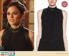 Zoe's black leather turtle neck top on Hart of Dixie. Outfit Details: http://wornontv.net/24485 #HartofDixie #fashion