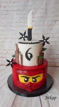 Lego Ninjago birthday party cake by Jitkap Ninja Birthday Cake, Birthday Cake Kids Boys, Ninja Cake, Ninja Birthday Parties, 5th Birthday, Birthday Ideas, Lego Ninjago Cake, Ninjago Party, Superhero Cake