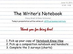 This is a wonderful Slideshare presentation about launching and using a Writer's Notebook (by Dana Schreiner)
