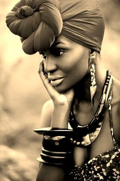 i love her earrings! #jewelery #beautiful woman #head wrap