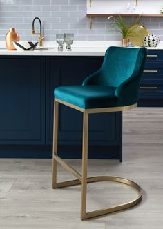 Form Teal Velvet and Brass Bar Stool With Backrest Teal Velvet with Brushed Brass Base in a dark blue kitchen Brass Bar Stools, Kitchen Counter Stools, Kitchen Chairs, Kitchen Cupboards, Kitchen Decor, Kitchen Appliances, Dark Blue Kitchens, Velvet Stool, Velvet Chairs
