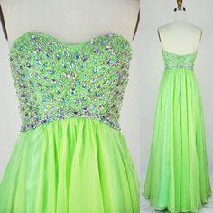 lime green strapless beaded prom dress