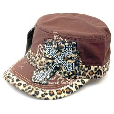 Brown Leopard Vintage Rhinestone Cross Cadet Cap
