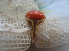 Estate 10K Coral Ring