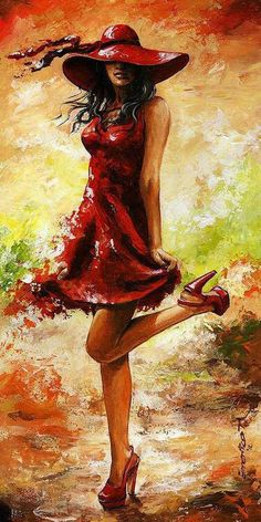 Lady in Red... I love that the woman will remain but the red is slowly slipping gracefully away.