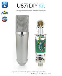 Kit to build a vintage U-87i microphone. It includes our new elegant U-87 style body, PCB D-U87 by Poctop, a capsule V-K87 from Vintage Microphones®, a transformer Cinemag CM-13113 (T13 style) and all necessary components.