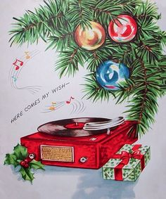 Christmas songs on the record player.