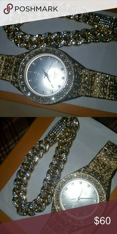 Iced out watch w cuban link braclet Iced out gp lab diamonds on both Gld Supply Accessories Jewelry