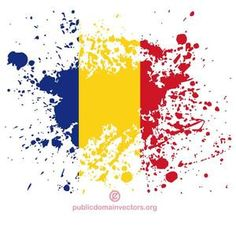 Vector illustration of colored paint spatter shape with flag of Romania.